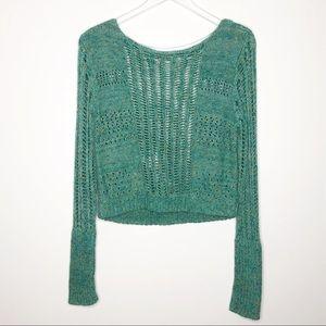 Free People | Green Open Knit Cropped Sweater Sz M